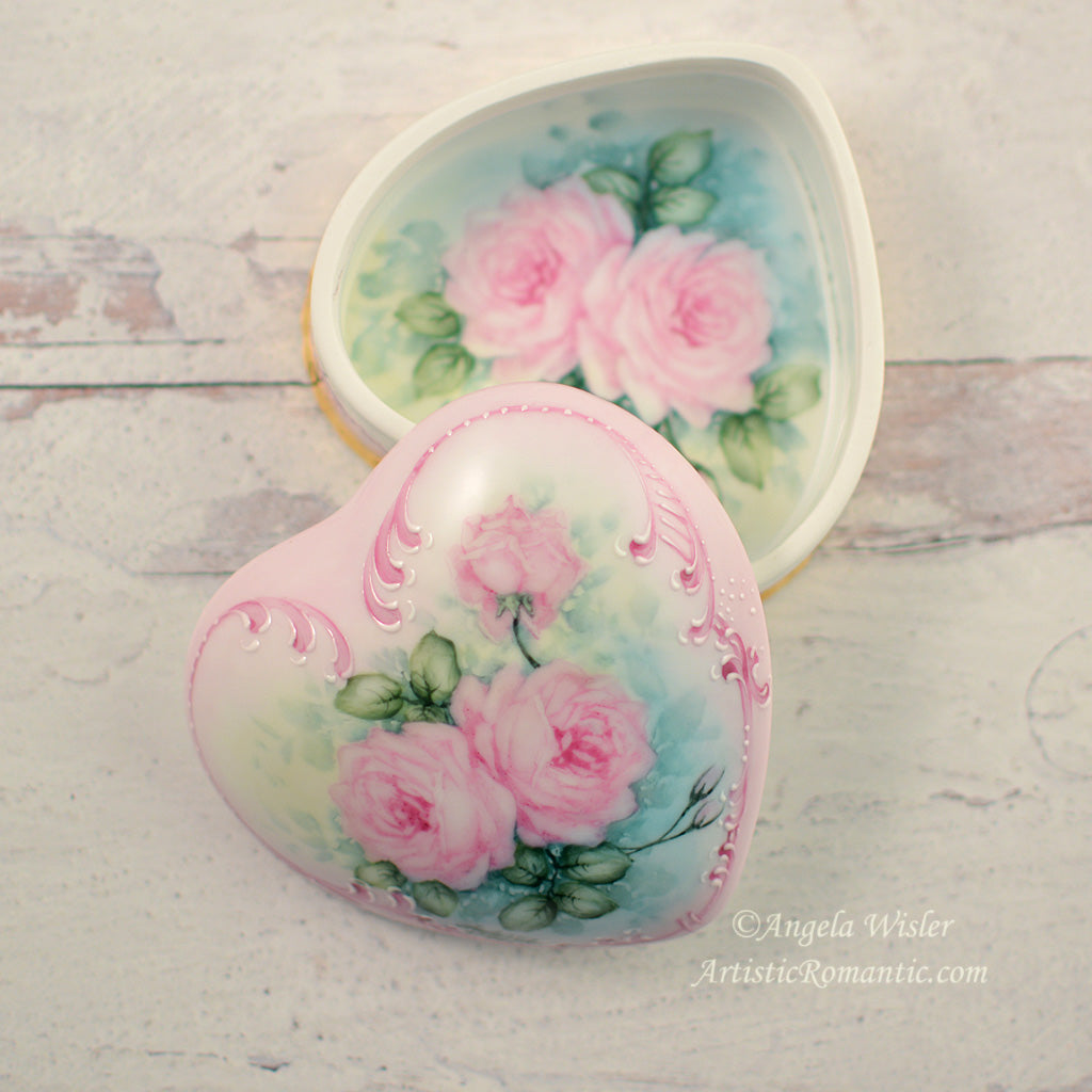 Blush Pink Roses Porcelain Jewelry Box Hand Painted Shabby Chic Decor