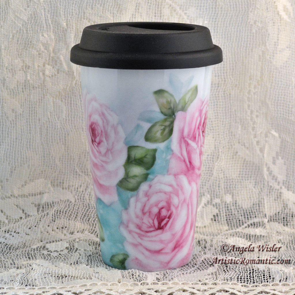 Cottage Pink Roses Porcelain Travel Cup Hand Painted Kiln Fired Insulated - Artistic Romantic  - 3