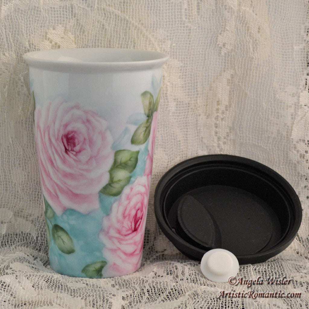 Cottage Pink Roses Porcelain Travel Cup Hand Painted Kiln Fired Insulated - Artistic Romantic  - 2