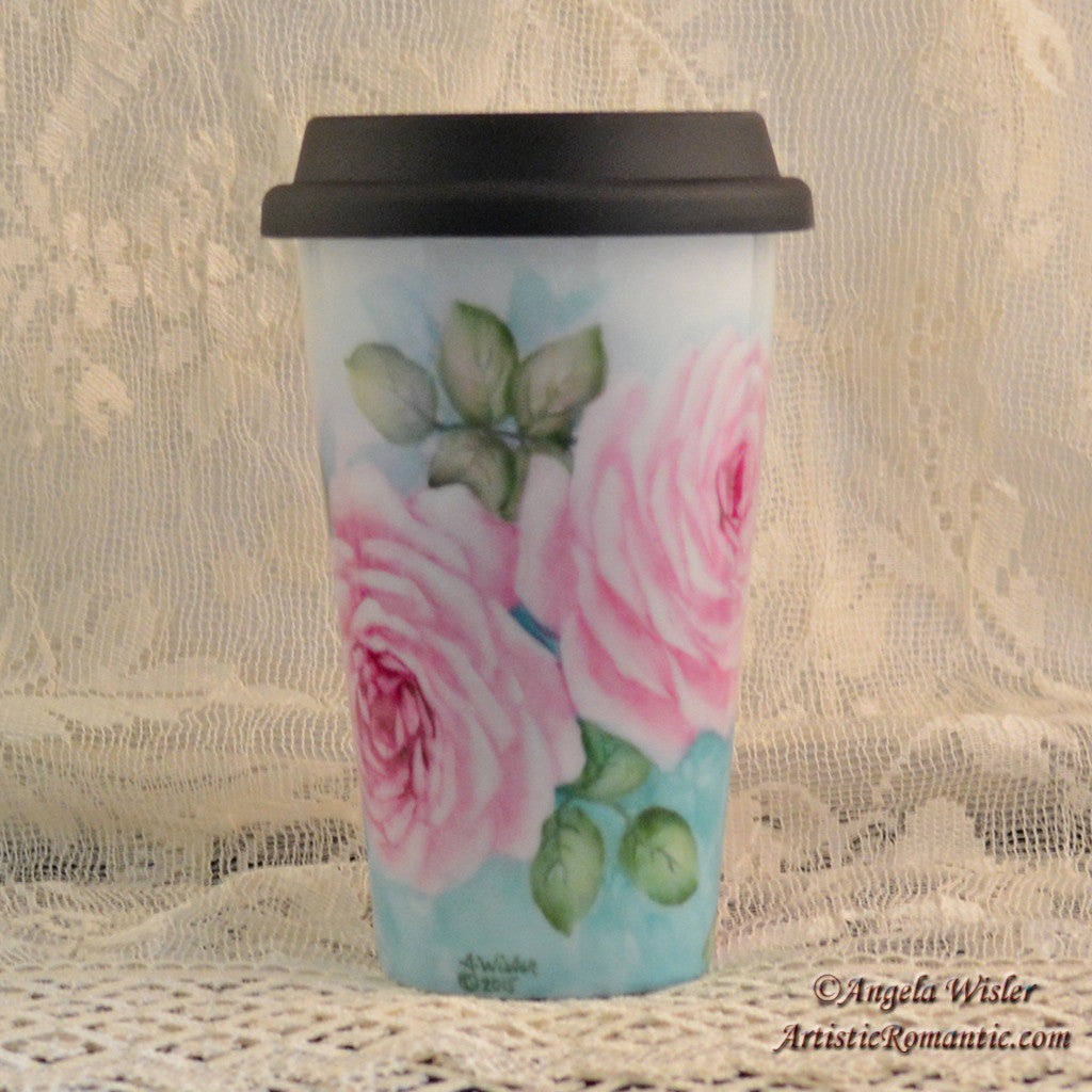 Cottage Pink Roses Porcelain Travel Cup Hand Painted Kiln Fired Insulated - Artistic Romantic  - 1