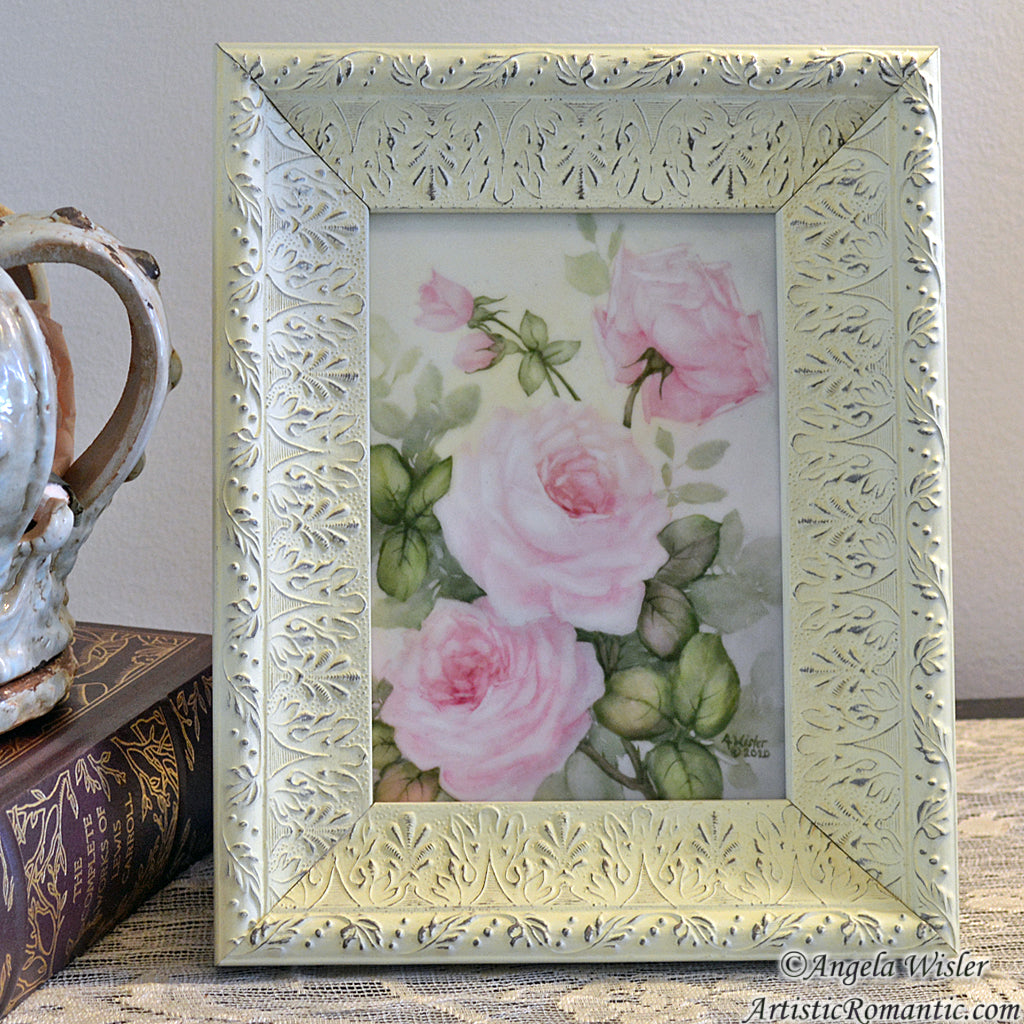 Framed Pink Roses Original Painting Porcelain Canvas Cottage Style Art
