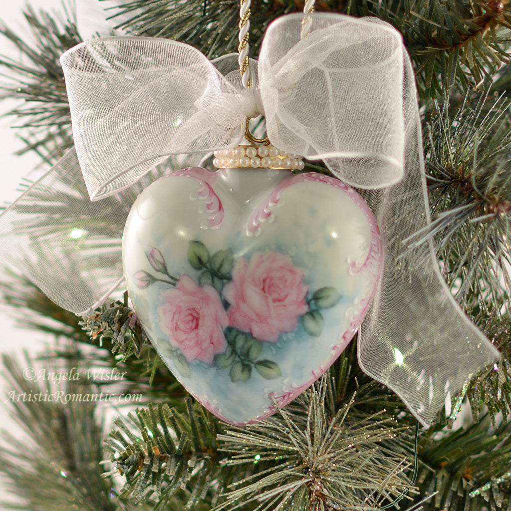 Hand Painted Pink Rose Porcelain Christmas Ornament Shabby Chic Holiday