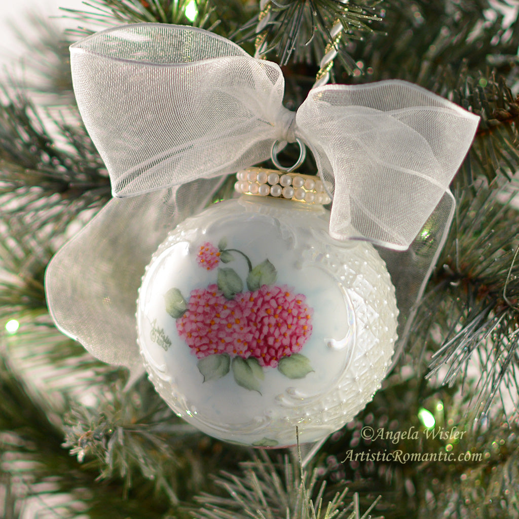 Country Chic Christmas Ornament Pink Hydrangeas Hand Painted Porcelain