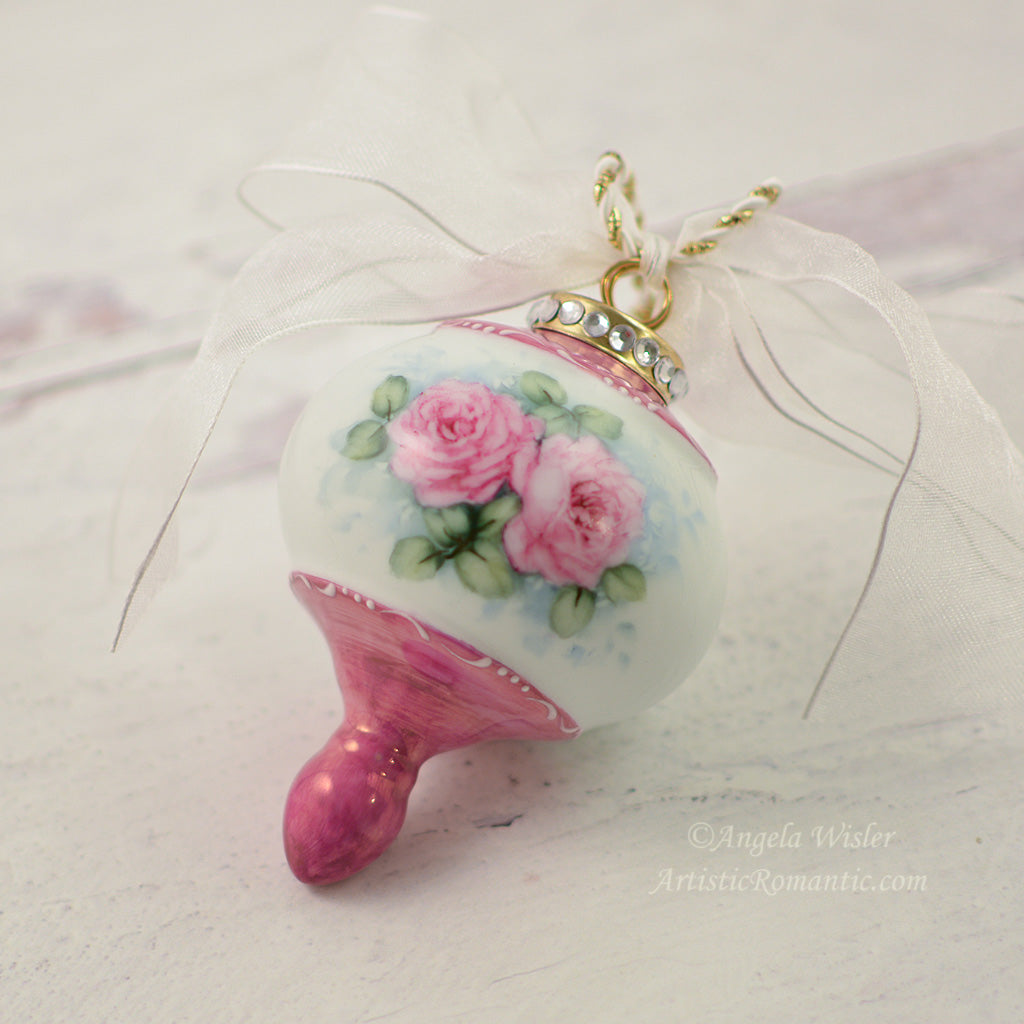 Pink Christmas Ornament Hand Painted Porcelain Keepsake Romantic Roses