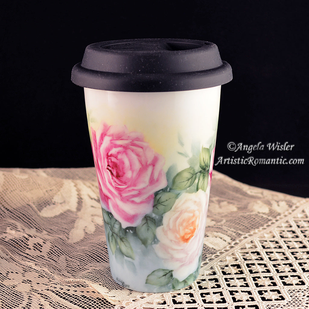 Coffee Travel Mug Porcelain Hand Painted Pink White Roses