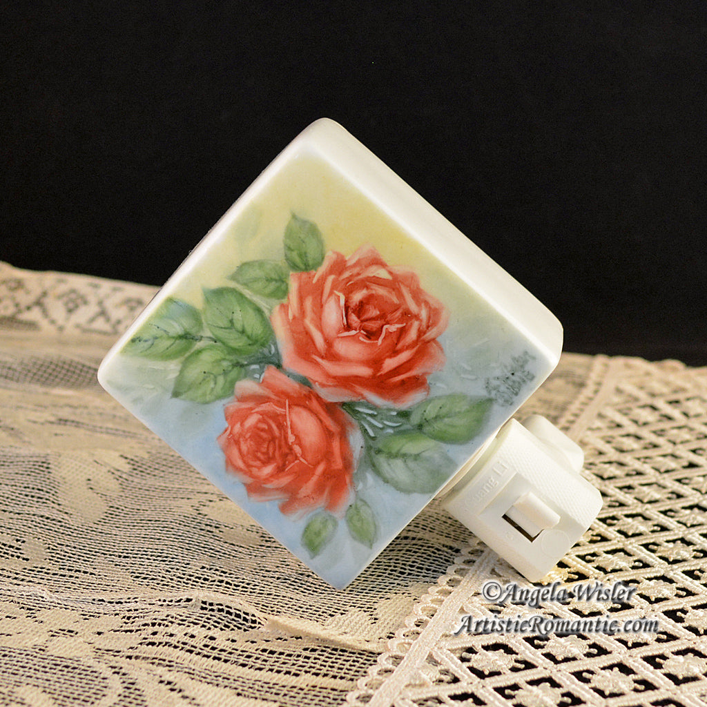 Red Rose Porcelain Nightlight Hand Painted Cabbage Roses