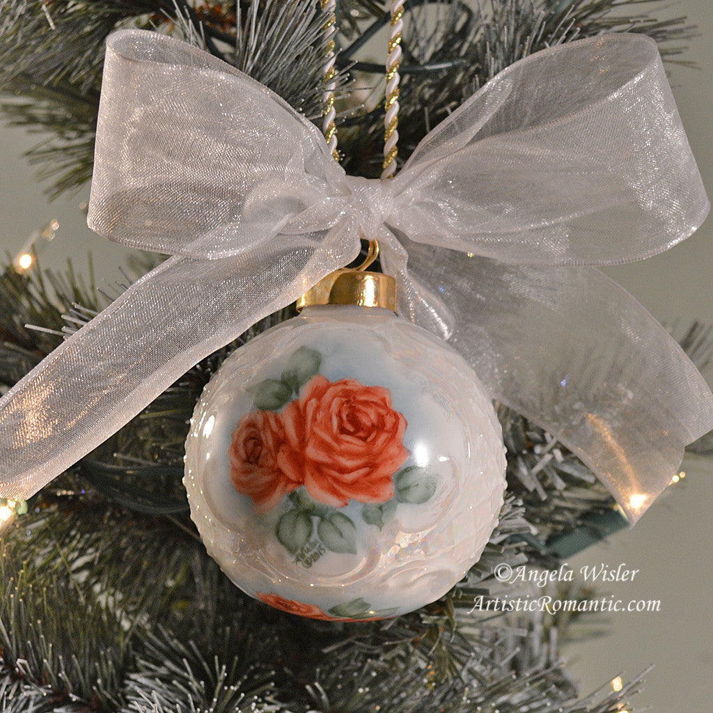 Rose christmas ornament - Porcelain Victorian Christmas Ornament Romantic Red Roses Hand Painted Artistic Romantic 1