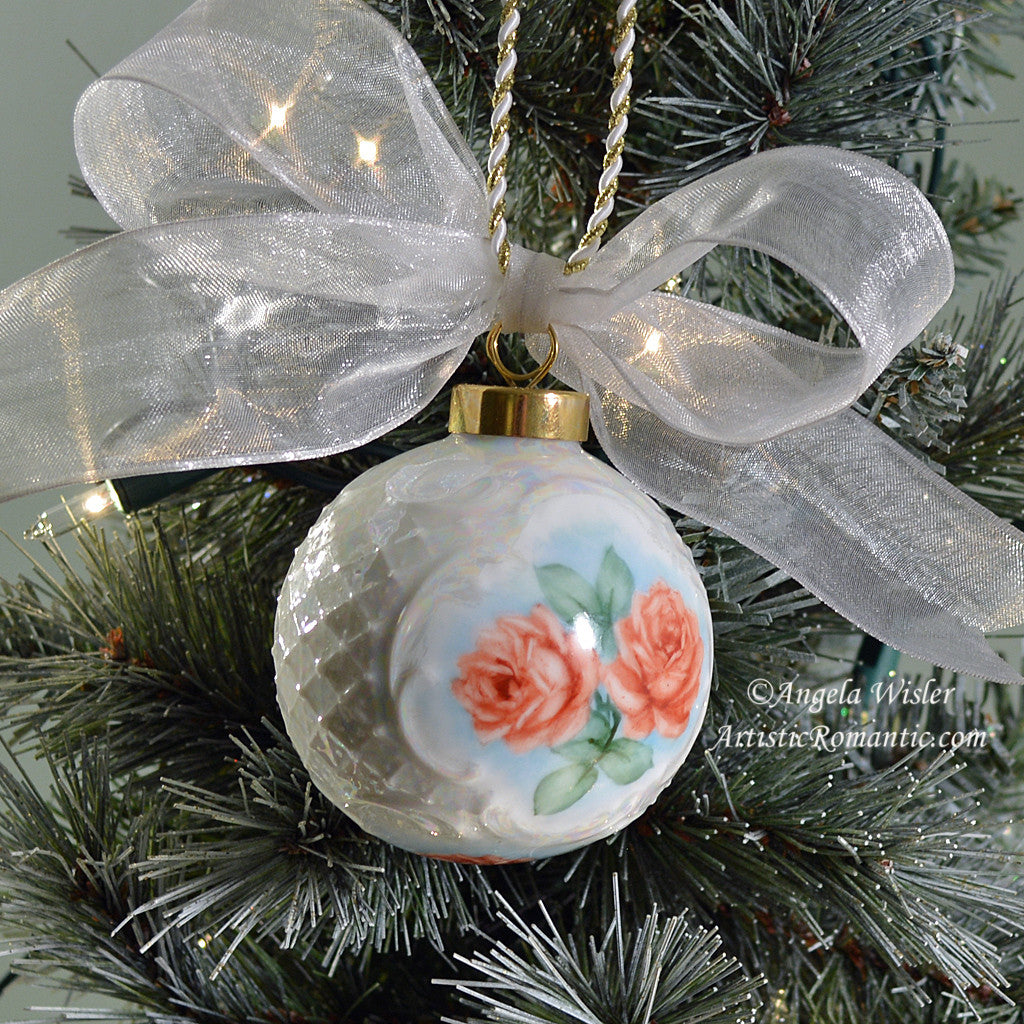 Rose christmas ornament -  Porcelain Victorian Christmas Ornament Romantic Red Roses Hand Painted Artistic Romantic 2