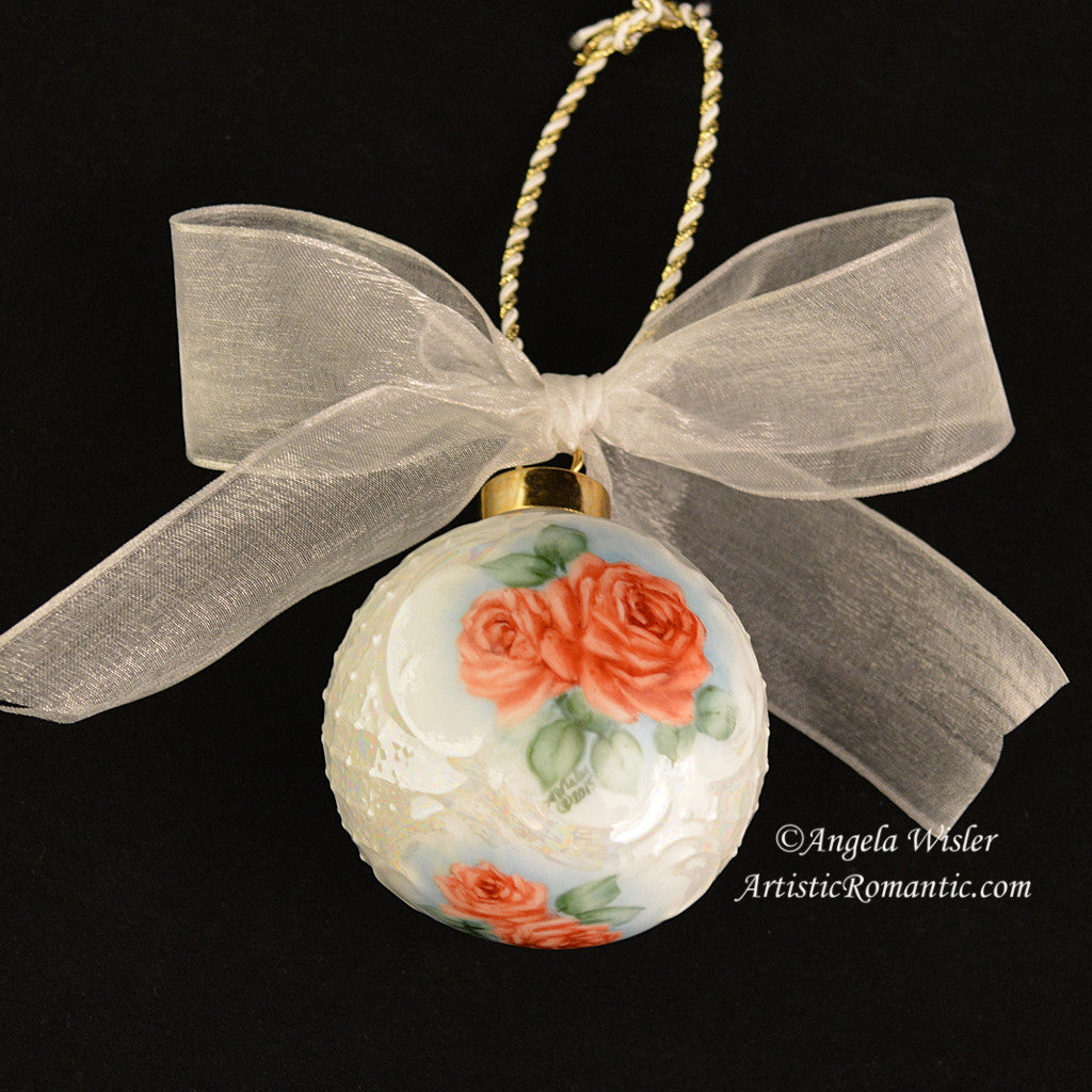 Rose christmas ornament -  Porcelain Victorian Christmas Ornament Romantic Red Roses Hand Painted Artistic Romantic 3
