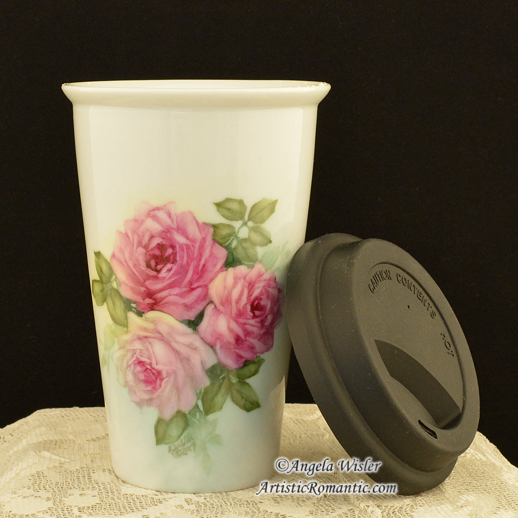 Coffee Travel Insulated Mug Hand Painted Porcelain Pink Roses