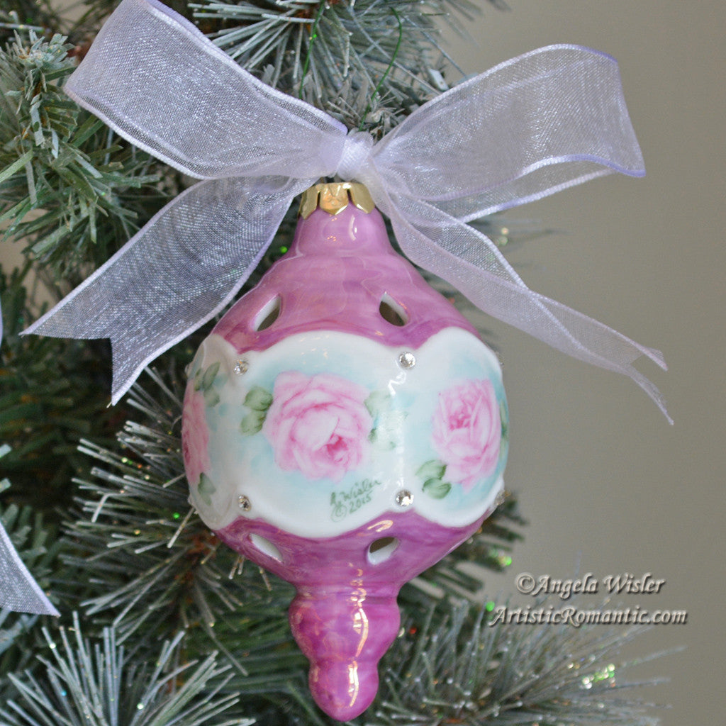 Rose christmas ornament - Porcelain Victorian Christmas Ornament Hand Painted Pink Roses And Luster Artistic Romantic 1
