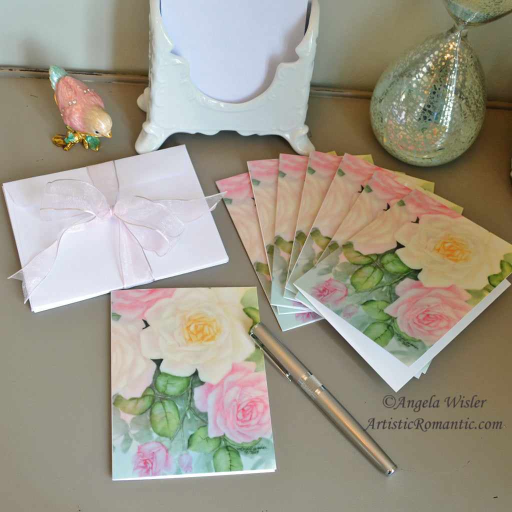 Pink White Roses Elegant Boxed Blank Note Cards Set 8
