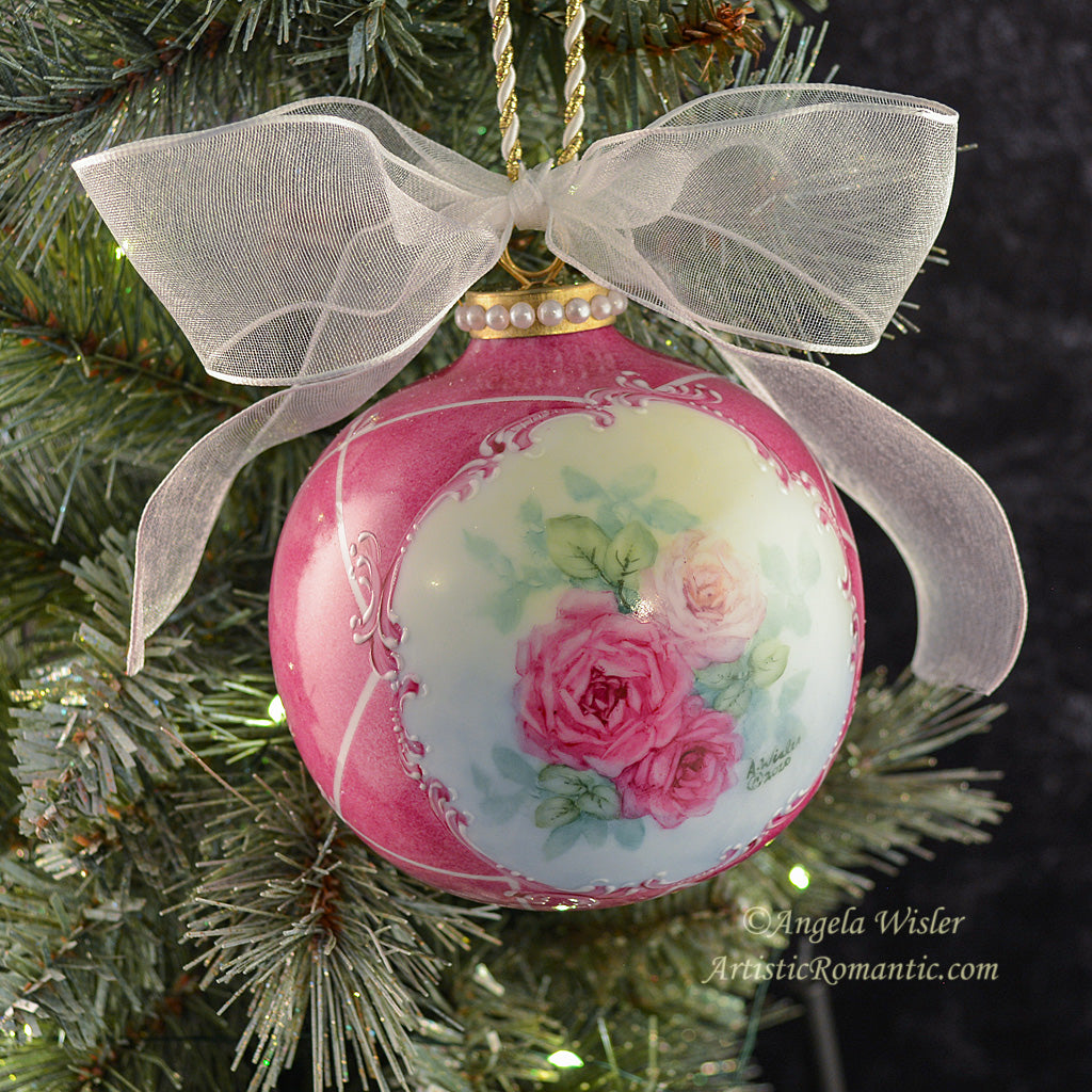 Large Victorian Christmas Ornament Hand Painted Porcelain Roses