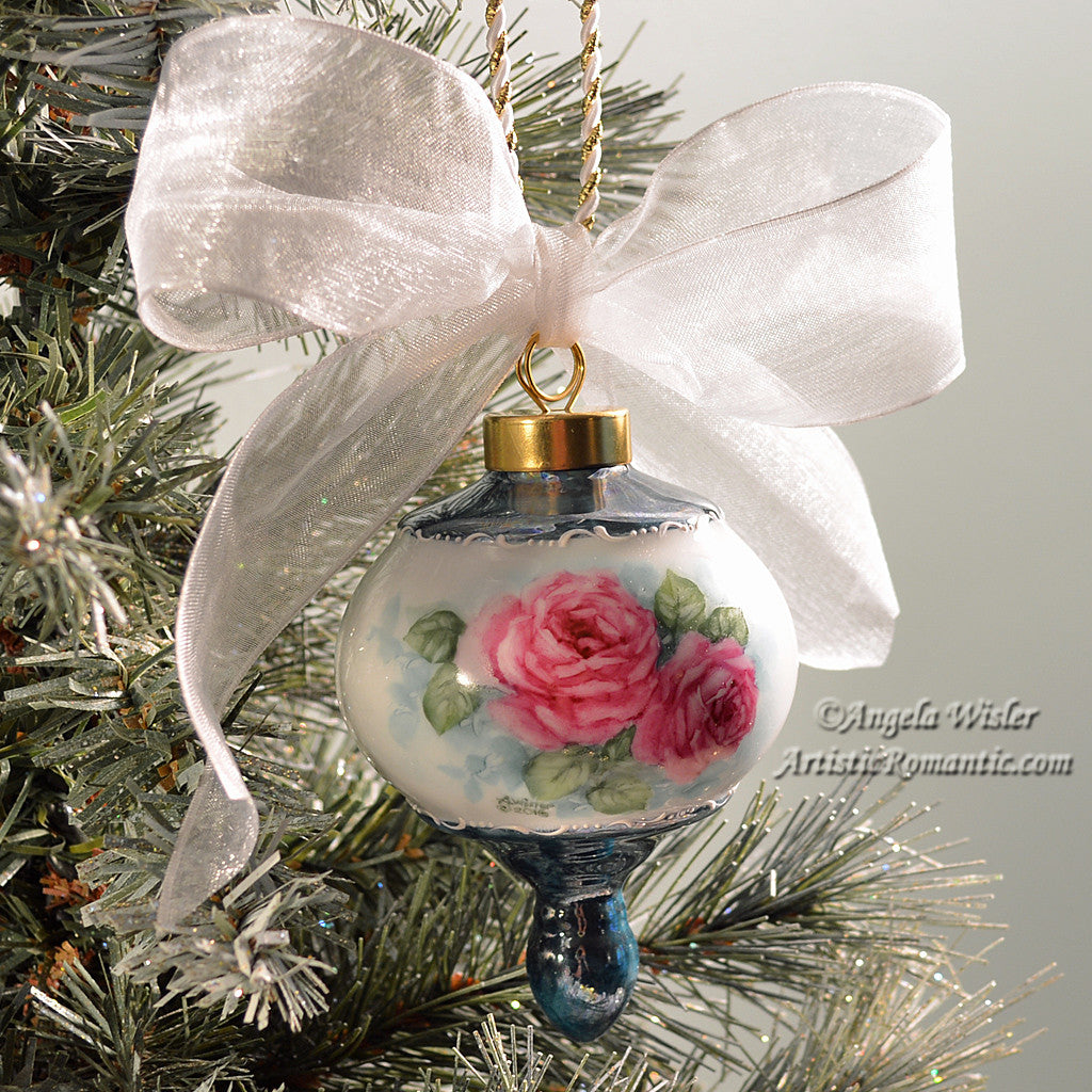 Rose christmas ornament - Victorian Christmas Ornament Hand Painted China Ruby Pink Roses Artistic Romantic 1