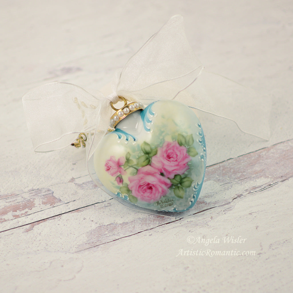 Aqua Victorian Porcelain Heart Christmas Ornament Hand Painted Pink Roses