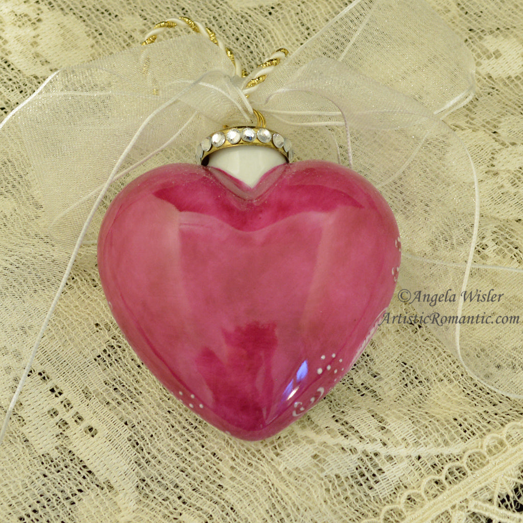 Ruby Deep Pink Roses Christmas Ornament Hand Painted Porcelain