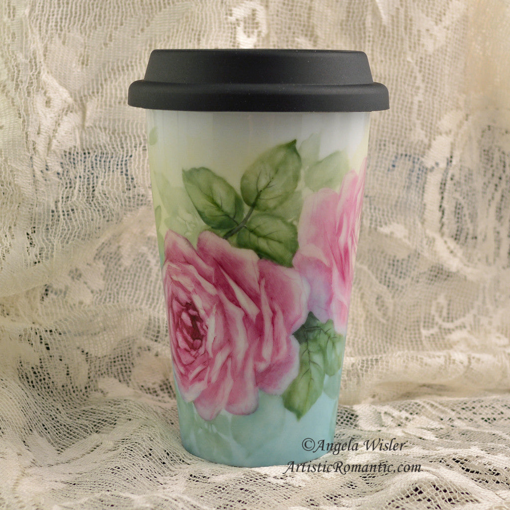 Porcelain Insulated Travel Mug Cup Ruby Pink Tea Roses Hand Painted Kiln Fired - Artistic Romantic  - 1