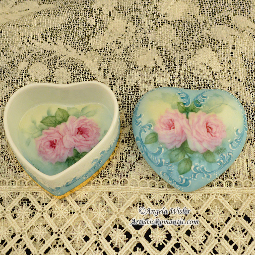 Fine Bone China Jewelry Trinket Box Hand Painted Pink Roses 24K Gold