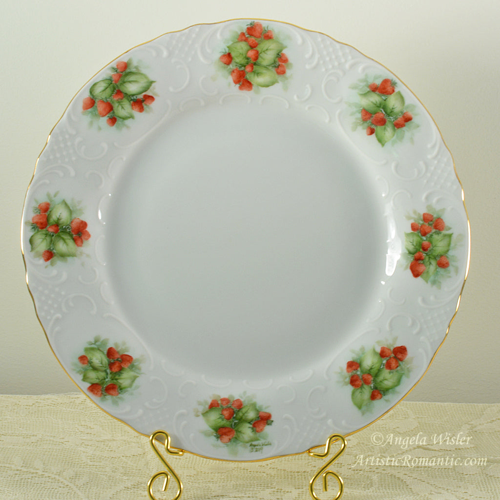 Strawberry China Plate Hand Painted Farm Fresh Country Cottage Chic