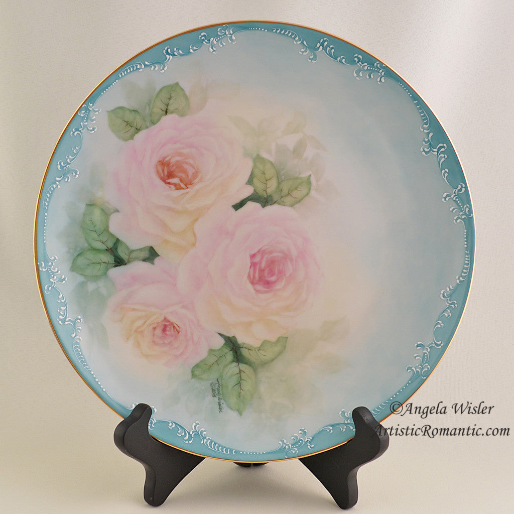China Cabinet Plate Hand Painted Pink Roses Aqua Victorian Scroll Work Fired Porcelain - Artistic Romantic  - 1