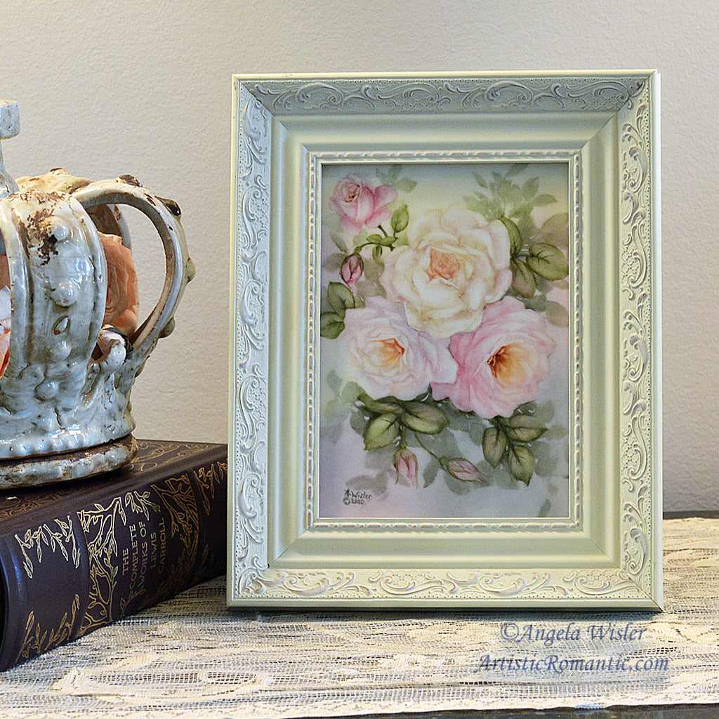Lavender Pink White Roses Original Painting Porcelain Canvas Framed