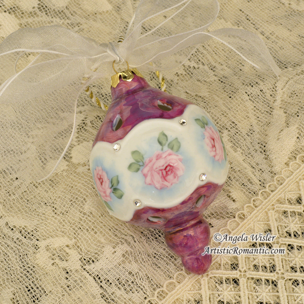 Pink Roses Victorian Large Christmas Ornament Hand Painted Porcelain