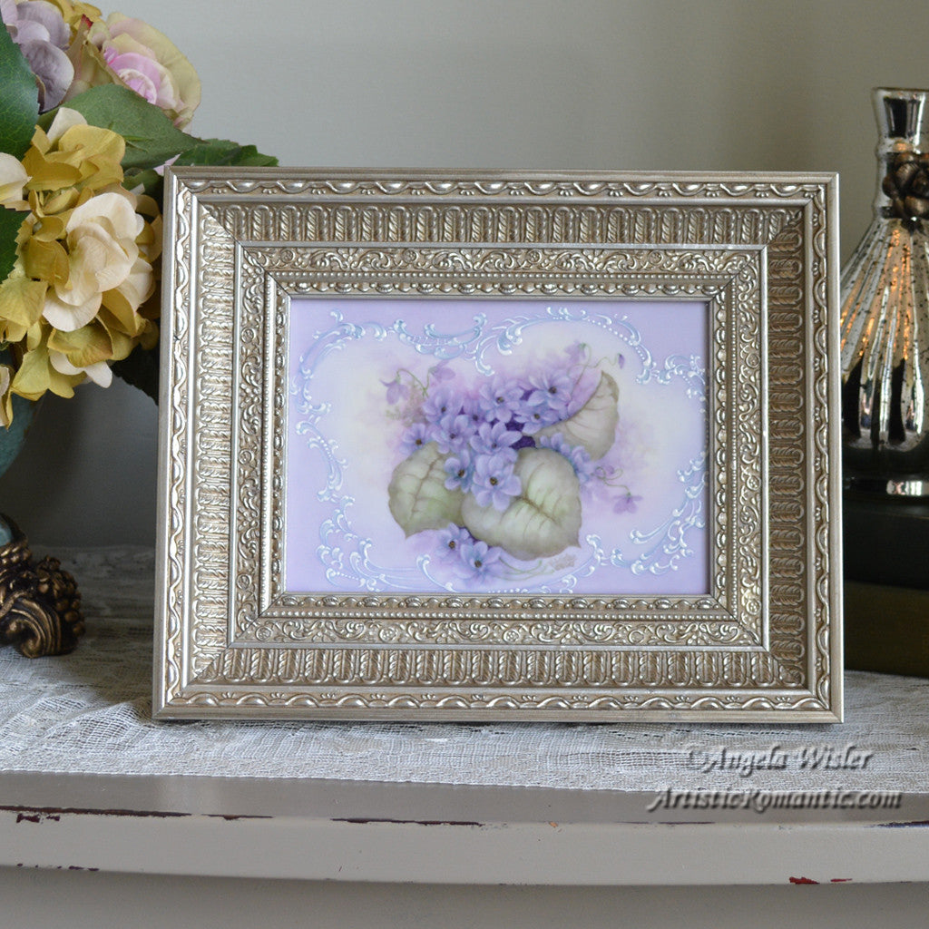 Framed Romantic Painting Double Violets Victorian Scrolling Kiln Fired Porcelain Canvas - Artistic Romantic  - 1