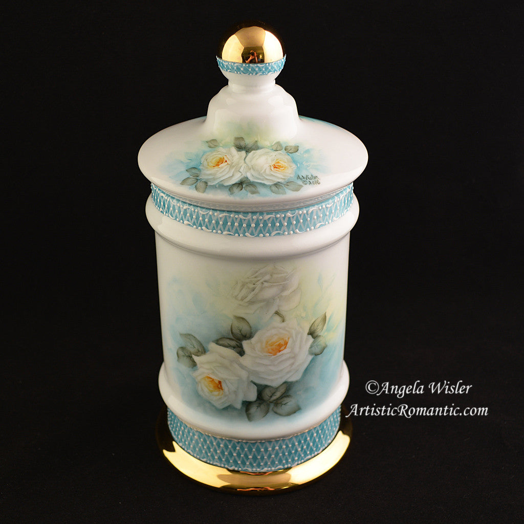 French Style Apothecary Jar Porcelain Canister Hand Painted White Roses Aqua China - Artistic Romantic  - 1