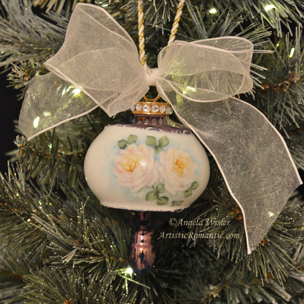 White Christmas Roses Hand Painted Porcelain Ornament Rose Gold Navy
