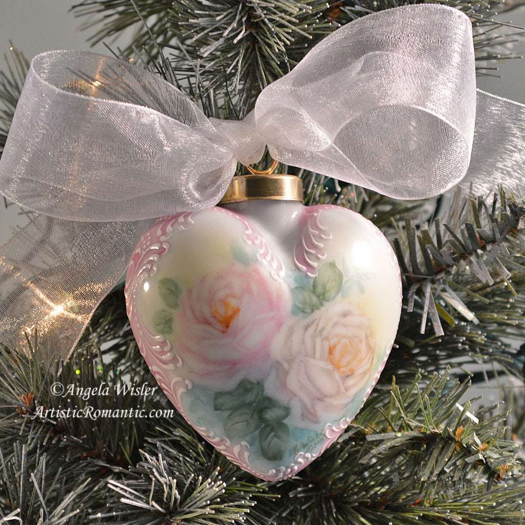 Victorian Heart Porcelain Christmas Ornament Hand Painted Pink White ...