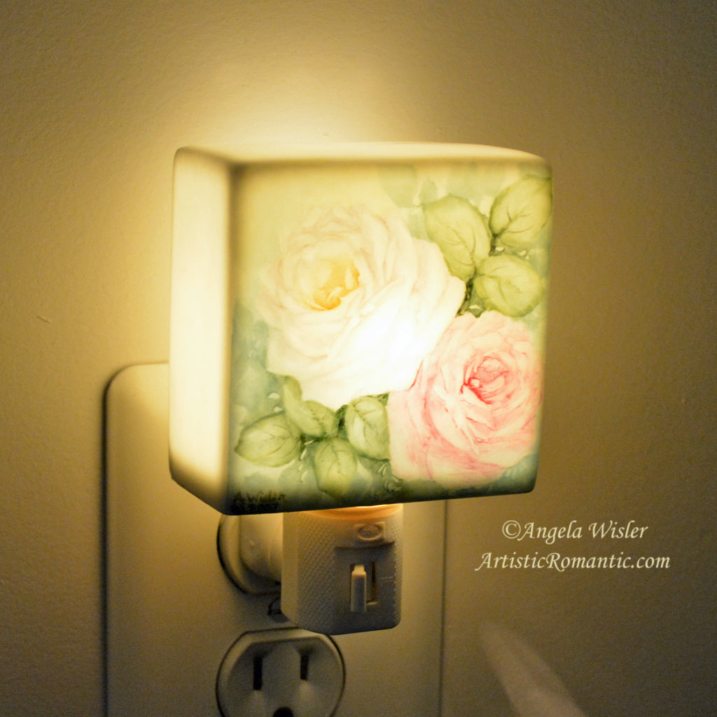 Hand Painted Pink White Roses Porcelain Night Light Cottage Style ...