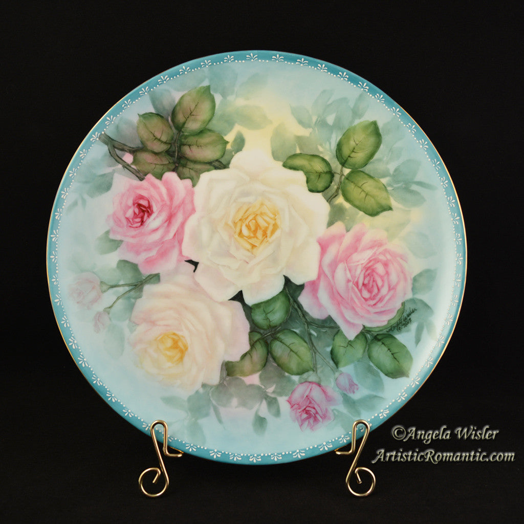 Pink & White Roses Hand Painted China Cabinet Plate Signed - Artistic Romantic  - 1