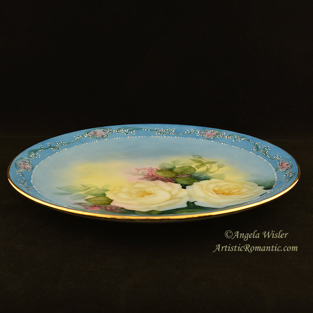 Exquisitely Detailed Hand Painted China White Roses Scrolls Cabinet Plate