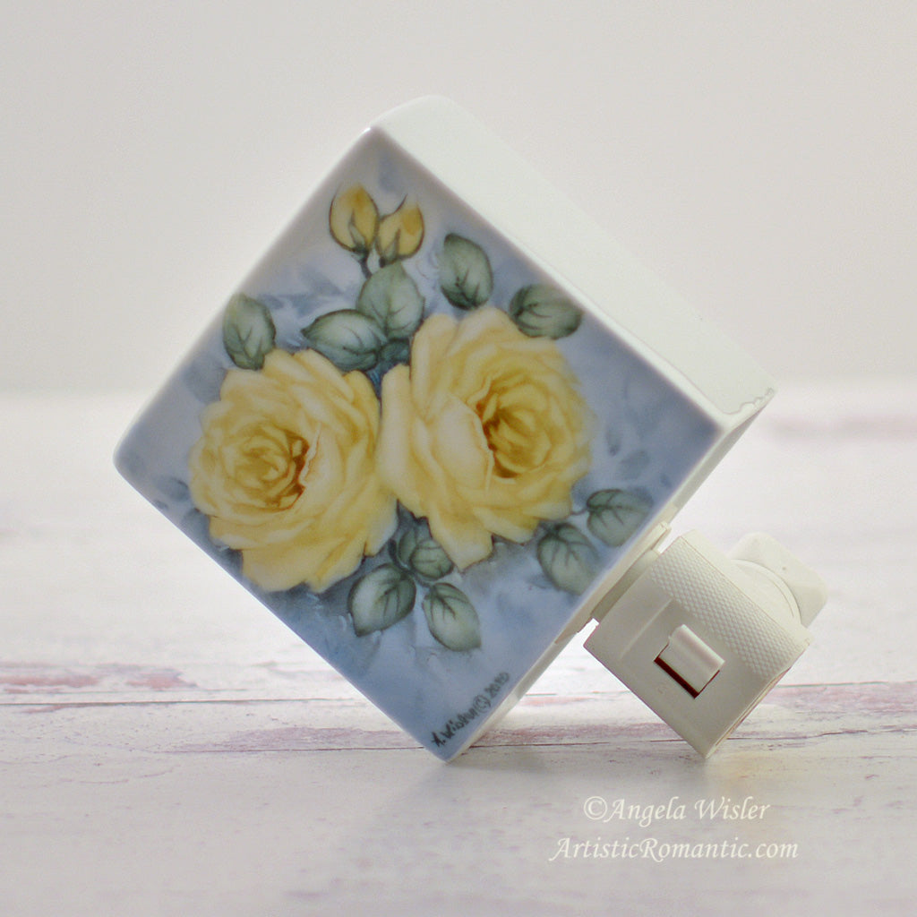 Yellow Friendship Roses Porcelain Night Light Hand Painted Cottage Style