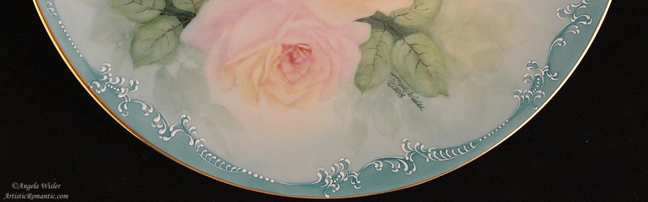 Hand Painted China artist signed Shabby Chic roses