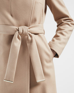 MIDI WOOL WRAP COAT WITH SHOULDER