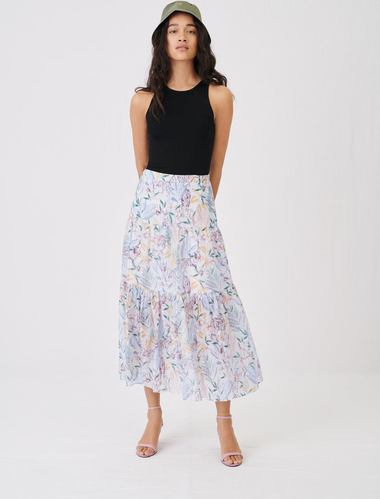SKIRT IN CRINKLE-EFFECT, PRINTED VOILE