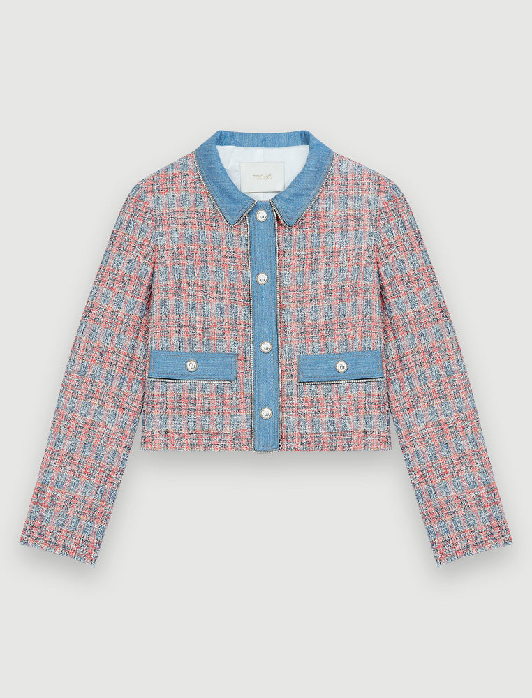 Load image into Gallery viewer, TWEED JACKET WITH DENIM CONTRASTS