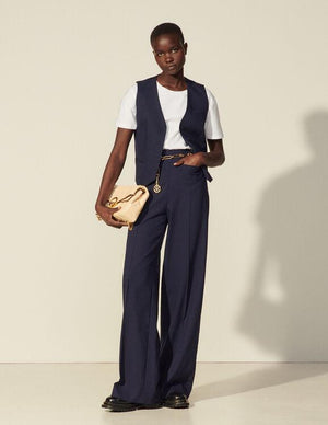 HIGH-WAISTED VISCOSE TROUSERS