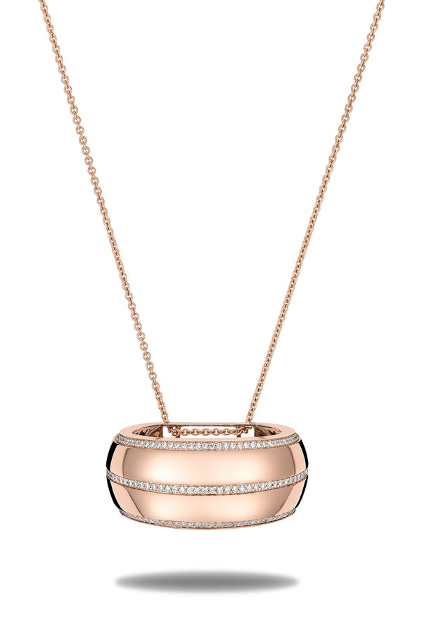Tendance scarf necklace in 18 karat rose gold and diamonds. this scarf necklace is crafted in italy from 18 karat rose gold and white round cut diamonds