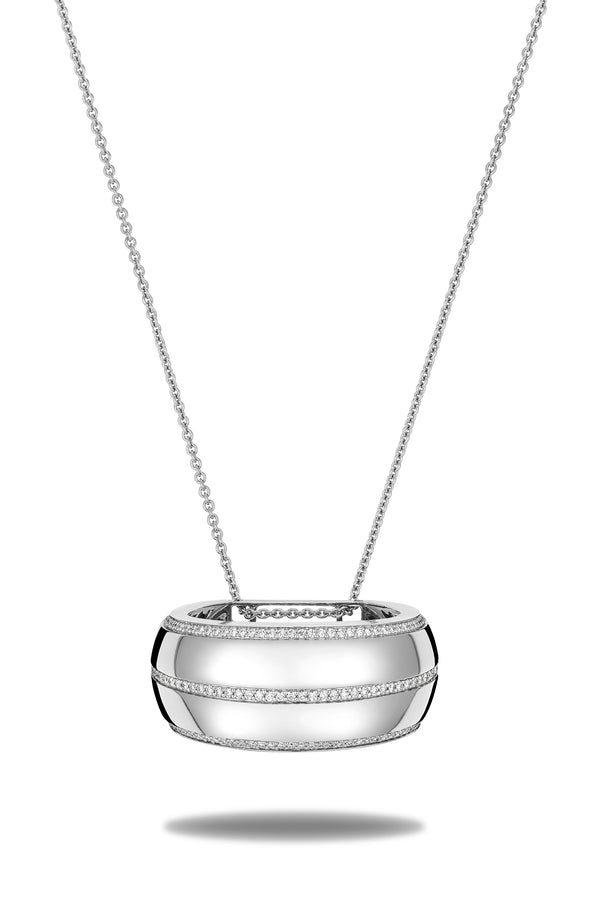 Scarf ring pendent on adjustable diamond chain. This 18 karat white gold and diamonds necklace features a pendent that secures and adorn your scarf. It's crafted in Italy from 18 karat white gold and features 3 rows of round cut diamonds.