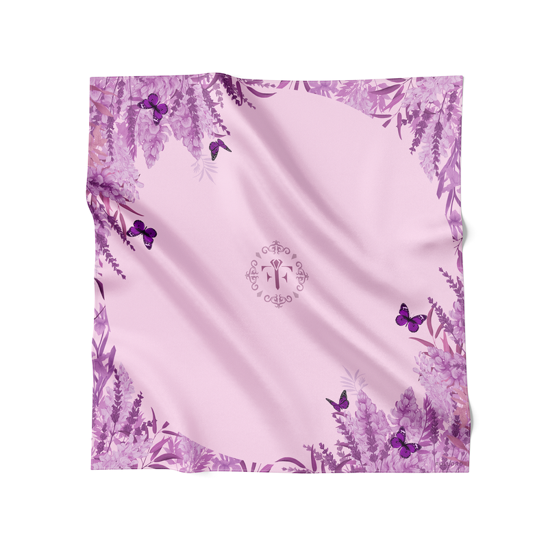 Lilac wool and silk scarf featuring  butterflies and floral motif. This lilac scarf is made in France and measures 140 x 140 cm