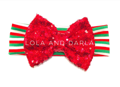 Sparkle Babe Christmas striped Headband with RED sparkling bow
