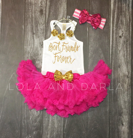 Best Friends Forever infant tank top in gold sparkle