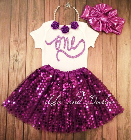 Number One PURPLE sparkle bodysuit