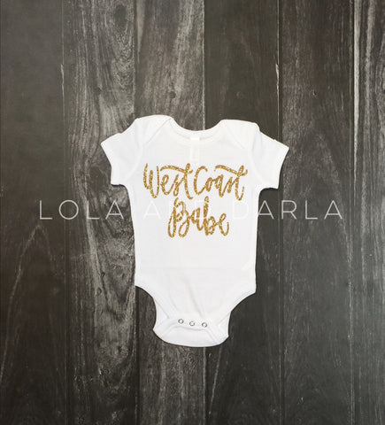 West Coast Gold Sparkle Baby bodysuit