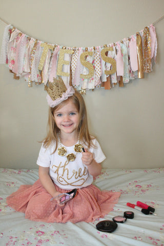 Number THREE toddler birthday shirt