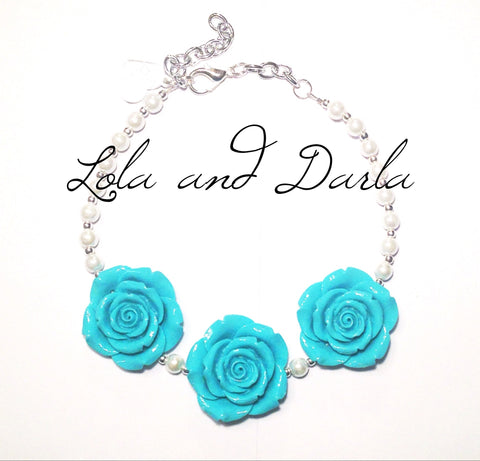 Flower Girl Necklace - TEAL BLUE Merbabe