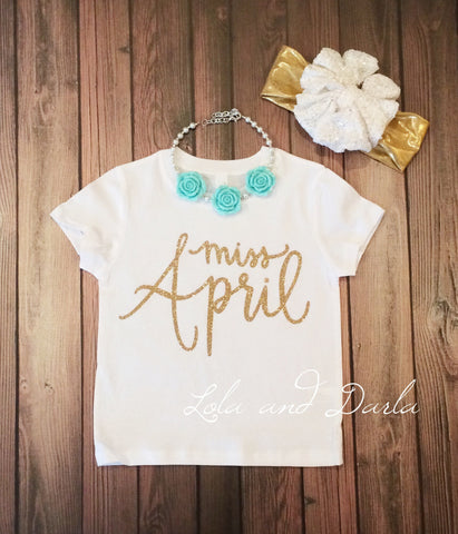Miss April Toddler and Girls Sparkle T Shirt