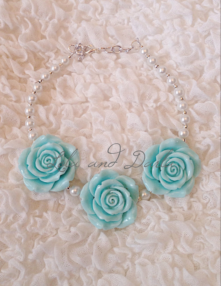 Flower Girl Necklace - LIGHT BLUE